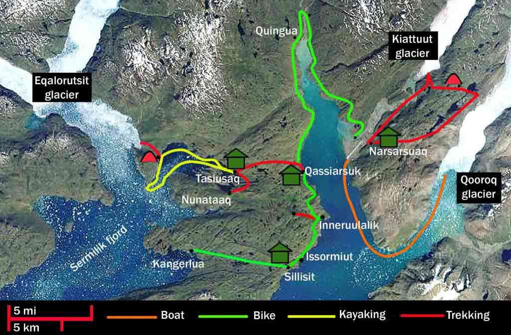 Greenland mountain biking route map