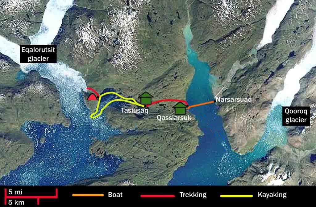 Sea kayaking trips in Greenlanad map
