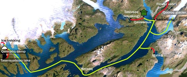 wonders of greenland map narsaq