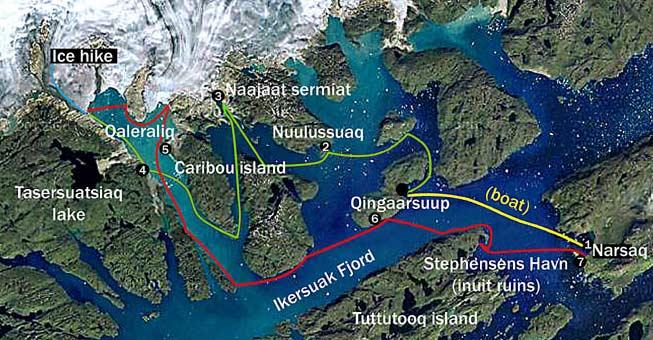 Kayaking Greenland, map