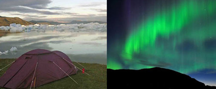bike, kayak, hike in Greenland. Tents and northern lights