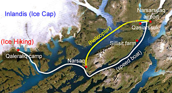 Hotel trip Greenland route map